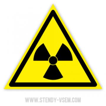 Знак Опасно. Радиоактивные вещества или ионизирующее излучение