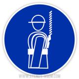 Знак Работать в предохранительном страховочном поясе