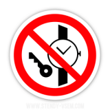 Знак Запрещается иметь при на себе металлические предметы часы