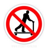 Знак заборони перевезення людей на роклі