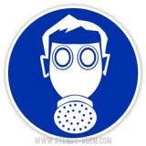 Знак Працювати в засобах індивідуального захисту органів дихання