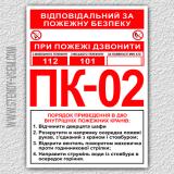 Комбінований знак ПК. Порядок приведення в дію пожежного крана