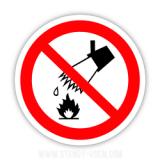 Знак Гасити водою заборонено