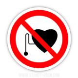 Знак Забороняється робота присутність людей зі стимуляторами серцевої діяльності