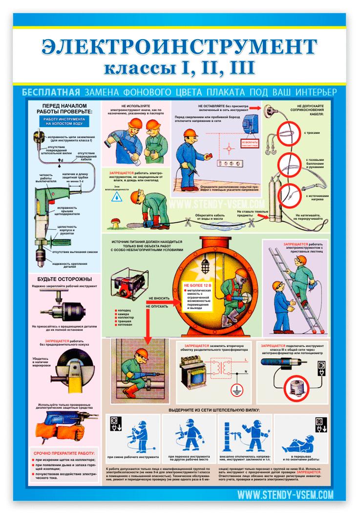 """учебный плакат безопасности """"Электроинструмент на производстве"""""""