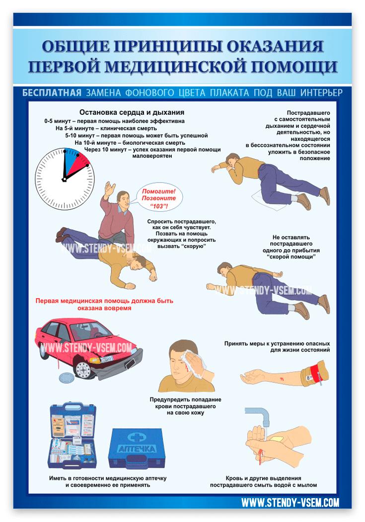 """Плакат  от производителя """"Общие принципы оказания первой медицинской помощи""""."""