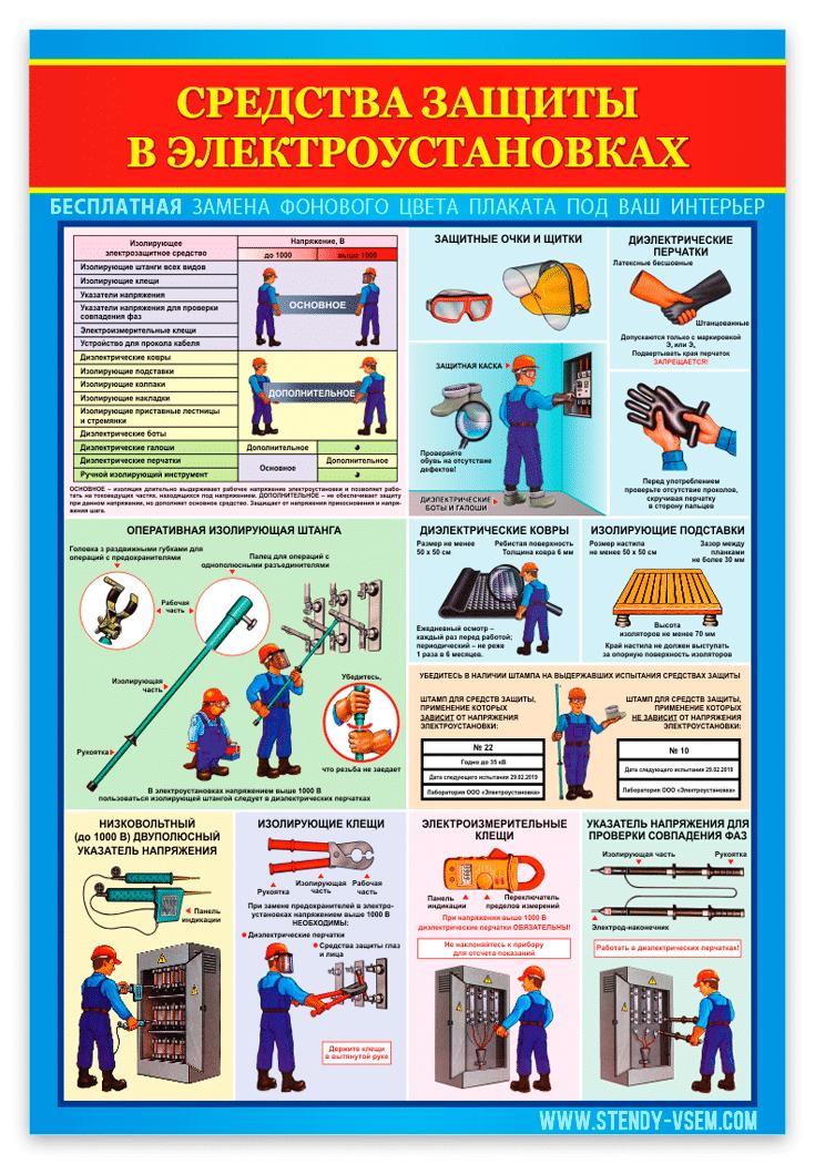 картинка плаката Средства защиты в электроустановках от производителя