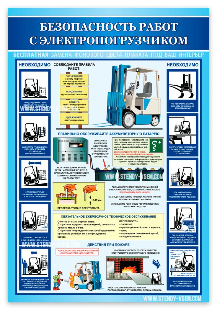Плакат Безопасность работ с єлектропогрузчиком
