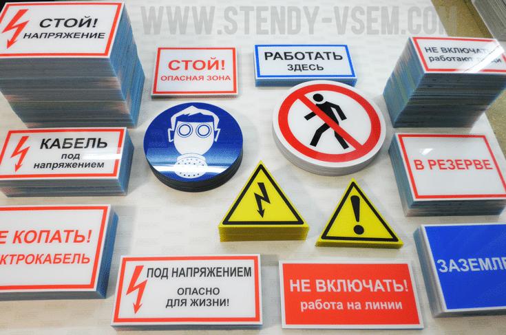 знаки, плакаты электробезопасности