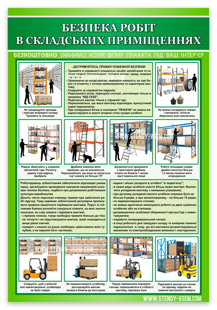 Плакат з охорони праці для складських приміщень