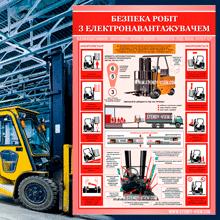 """""""Безпека робіт на складі. Електронавантажувач"""" категорія товарів з 3 видів плакатів."""