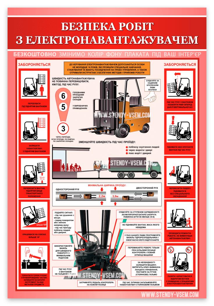Плакат для складу Безпечна робота на електронавантажувачі