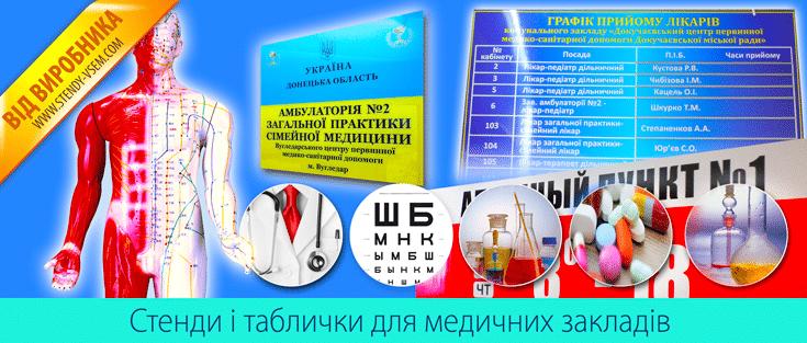 Виготовлення інформаційних стендів для медичних установ.
