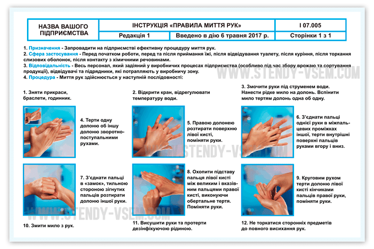 """Картинка инструкции по мойке и обработке рук, для предприятия """"Днестровые сады"""", Украина."""