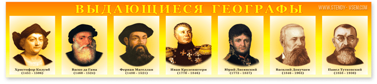 """Стенд """"Портреты выдающихся географов""""."""