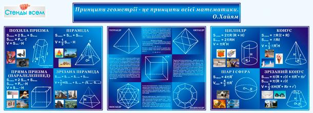 "Стенды для предмета ""Геометрия""."
