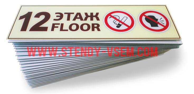 Табличка  для подъезда с номером «Этаж - floor».