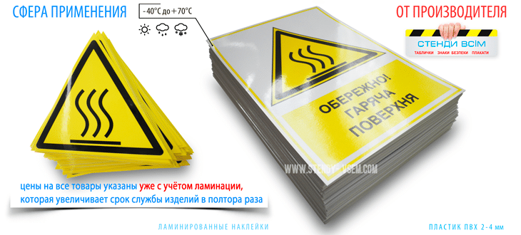 """Два варианта изготовления знака безопасности """"Горячая поверхность"""" включая наклейки с дополнительной надписью."""