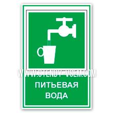 """Предписывающий знак безопасности на производстве """"Питьевая вода"""" комбинированный с дополнительной надписью."""