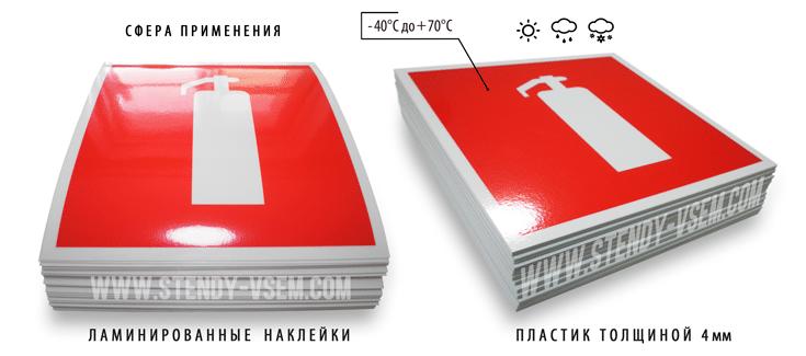 """образцы пожарных знаков """"Огнетушитель"""" (наклейки, пластик)"""