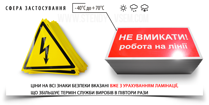 таблички електробезпеки і знаки для енергетиків